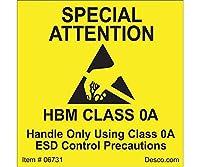 DESCO ラベル 「SPECIAL ATTENTION」 HBM CLASS 0A 500枚 06731