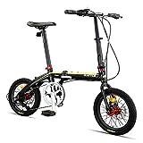 DJYD Erwachsene Faltrad, faltbar Compact Fahrrad, 16' 7-Gang Super Compact Light Weight Faltrad, verstärkter Rahmen Pendler Fahrrad, Gelb FDWFN (Color : Yellow)