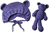ECYC Newborns Crochet Beanie with Bear Doll Baby Picture Outfits Photography Bat Purple