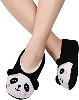 Womens Slipper Socks Low Cut Comfy&Warm Animal Non-skid Bedroom Slippers
