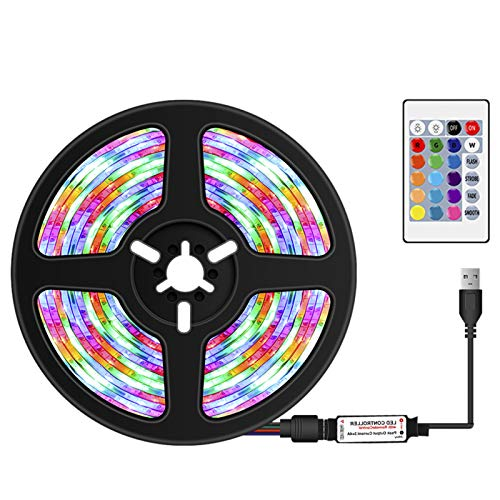 Btuty Tira de LED USB Regulable RGB Tiras de LED de colores Luz con control remoto IR 16 colores y 4 modos de iluminación 5m 300LEDs Cuerda de luz para TV Fondo de escritorio de computadora (TYPE2)