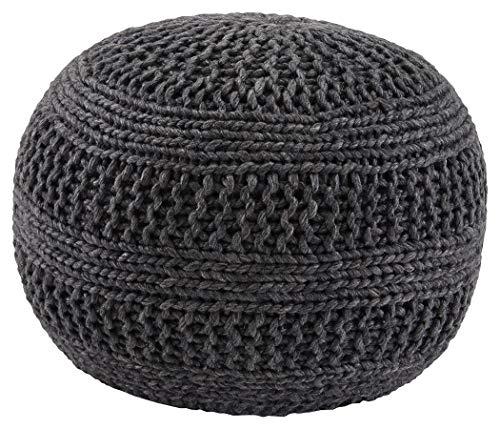 Ashley Furniture Signature Design - Benedict Pouf - Comfortable Ottoman & Footrest - Handmade Rib Knit - Charcoal Gray
