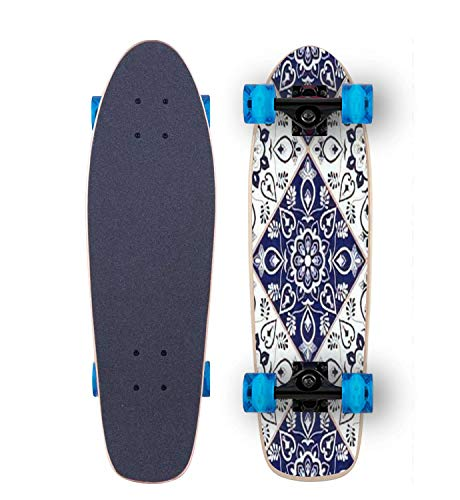 Cruiser Skateboard For Kids Boys Girls Youths Beginners, Delft dutch tile pattern vector with blue and white flower ornaments 27''x 7.5'' Complete Maple Skateboards With Blue LED Flashing Wheels
