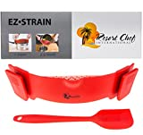 Resort Chef Kitchen Clip-on Pot Strainer. Best for Straining Pasta, Meat Grease, Eggs, Rice, Fruits & Vegetables - BPA Free Eco Friendly - Includes Bonus Matching Silicone Spatula - Great Gift Idea