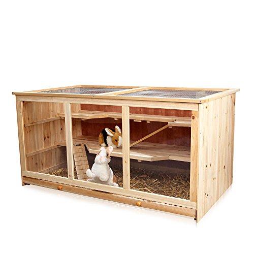 Melko Kleintierkäfig Nagervilla Hamsterkäfig Mäusekäfig aus Holz, 117 x 63 x 58 cm, inklusive 2 Rampen, 3 stöckig
