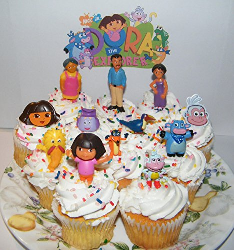 Dora The Explorer and Friends Deluxe Cake Toppers Cupcake Decorations Set of 12 with Figures and Rings Featuring Boots, Dora, Grandma, Swiper, Mom amd More!