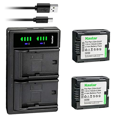 Kastar 2-Pack Battery and LTD2 USB Charger Compatible with Panasonic CGA-DU06, CGR-DU06, CGA-DU07, CGR-DU07, CGA-DU12, CGR-DU12, CGA-DU14, CGR-DU14, CGA-DU21, CGR-DU21 Battery