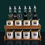 3 Nivel independiente condimento estante de la especia, condimento withRack Box et condimento tarros Cubierta de la bandeja y de la cuchara, ahorro de espacio, 11 / Set 15pcs kaikai