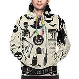 Sudadera con Capucha para Hombre Vector Halloween Decoration Set Elementos de diseño de Halloween, Sudadera 3XL