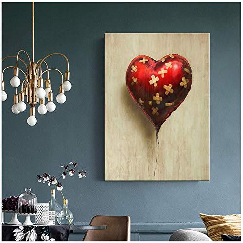 NOBRAND Romantische Valentijn Liefde Hart Ballon Muur Kunst Print Afbeelding Canvas Schilderen Home Decor Geen Frame Huishoudelijke Decoraties 15.7x23.6 in geen frame