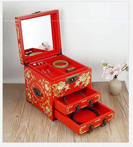 Living Equipment Boîte à bijoux Boîte de rangement chinoise Boîte à bijoux artisanale en laque peinte Bois laqué et miroir En bois miroir Bijoux bibelot Souvenir Organisateur Organisateur Trésor po