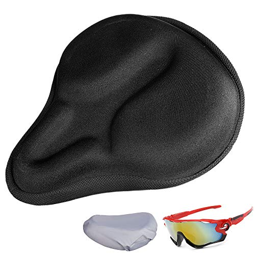 Dprofy Gel Bike Seat Cover - Foam & Extra Soft Bicycle Seat Cushion Covers for Women Men, Comfortable Bike Seat Cover Gel Padded, with Water Resistant Cover, Fits Mountain, Cruiser & Stationary Bikes