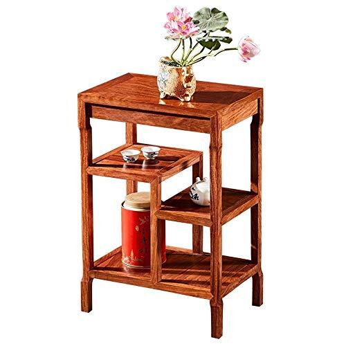 Mesa de centro para muebles, mesa auxiliar de palisandro chino, sala de estar, mesa de té, armario lateral de madera maciza, mesa de centro, estante de almacenamiento multicapa, mesita de noche p