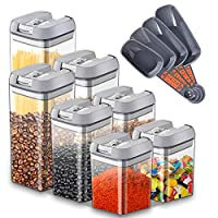 urslif set di contenitori per la conservazione degli alimenti barattoli di plastica contenitore ermetico con coperchio,spaghetti,farina, cereali senza bpa-(1,9 l; 1,2 l; 0,8 l; 0,5 l) 7 pezzi