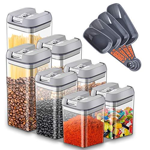 Urslif 7 Pezzi Set di Contenitori per la conservazione degli Alimenti Barattoli di plastica Contenitore ermetico con Coperchio, Senza BPA, contenitori per Cereali, Spaghetti, caffè, Farina, Fagioli