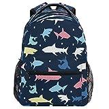 Oarencol - Mochila con diseño de estrella de tiburón colorida, para viajes, senderismo, camping, escuela, portátil