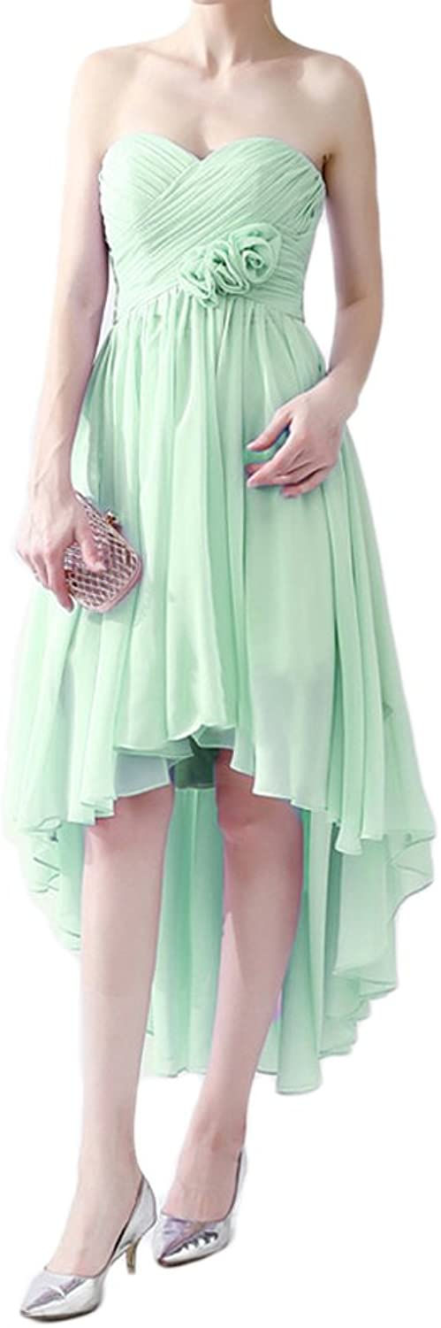 Dreagel Short High Low Bridesmaid Dresses Pleated Prom Homecoming Dress with Handmade Flowers