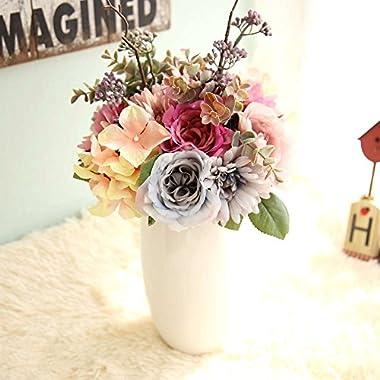 Artificial Flowers, Fake Flowers Silk Plastic Artificial Gerbera Rose Bridal Wedding Bouquet for Home Garden Party Wedding Decoration
