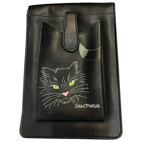 Nemesis Now Lucky Black Cat Kleine Umhängetasche mit Handyhalterfach, PU, 22 cm
