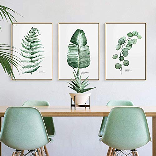 Refosian Estilo nórdico Plantas verdes Cactus Pinturas en lienzo Cuadros de pared para carteles e impresiones de la sala Decoración nórdica del hogar 30x50cmx3Pcs Sin marco