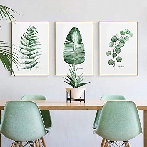 Refosian Estilo nórdico Plantas verdes Cactus Pinturas en lienzo Cuadros de pared para carteles e impresiones de la sala Decoración nórdica del hogar 40x70cmx3Pcs Sin marco