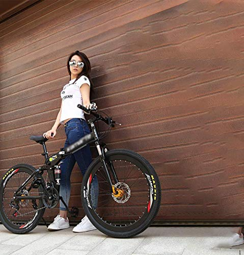 Bicicleta plegable plegable bicicleta de montaña adultos Bicicletas de montaña plegable para exteriores Bicicletas de 26 pulgadas Ruedas al aire libre Bicicletas de montaña - Blanco