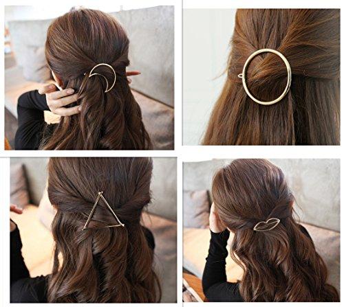 QTMY 4 Pcs Round Circle Triangular Lips Moon Shaped Hair Pin Clips Hair Jewelry Hair...