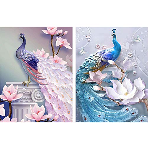 Reofrey 2 Piezas 5D Diamond Painting Pintura Diamante Azul Rosa Pavo Real Arte Bricolaje, Punto Cruz Imitación Bordado Pegatinas de Pared Decoración de sala 30x40cm