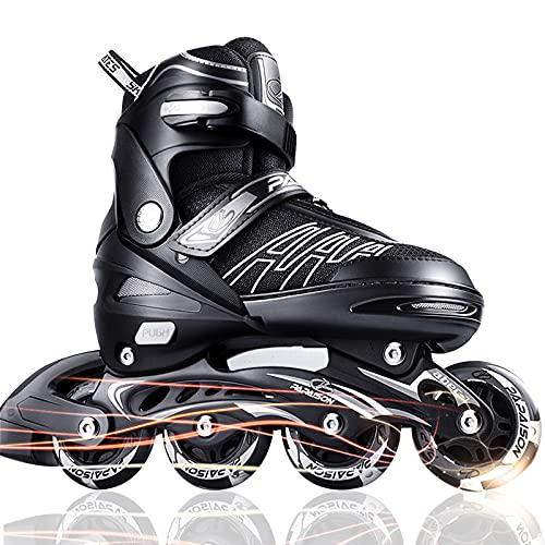Patines en Linea Ajustables con Ruedas Luminosas Inline Skates/Rollerblade, Profesionales para Adultos y Niñas y Niños, Rollers, 4 Ruedas (L, Negro)