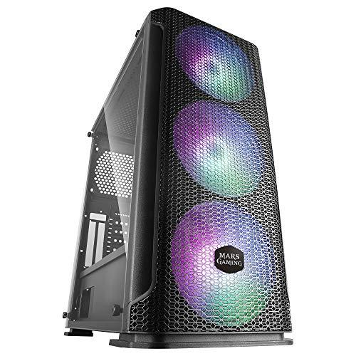 MARSGAMING MCEX, Caja Gaming Negra E-ATX, 3 Ventiladores RGB 14cm+Frontal Mesh