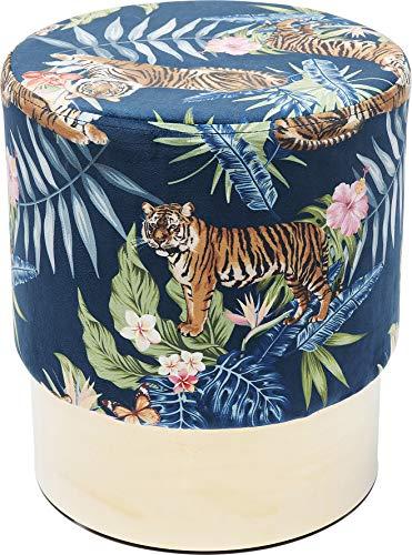 Kare Design Hocker Cherry Jungle Tiger Gold, runder Sitzhocker im Dschungel Stil, Messing Farbener Fuß, moderner gepolsteter Hocker, weitere Ausführungen erhältlich Ø35cm (H/B/T) 42 35 35