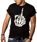 Maglietta Hard Rock Uomo - Biker T-Shirt Nera Stampa Cranio Gothic L