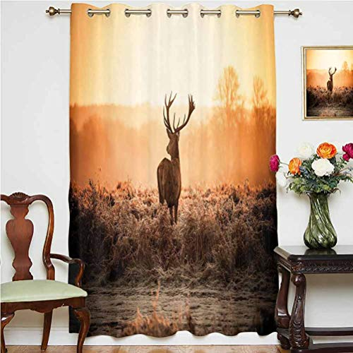 Hunting Decor Shading Curtains Red Deer in the Morning Sun Wild Nature Scenery Countryside Rural Heathers Decorative Grommets Panels Printed Curtains ,Single Panel 63x45 inch,for Living Room Brown Ora