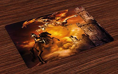 ABAKUHAUS Modern Placemat Set van 4, Ridder op Paard, Wasbare Stoffen Placemat voor Eettafel, Black and Marigold