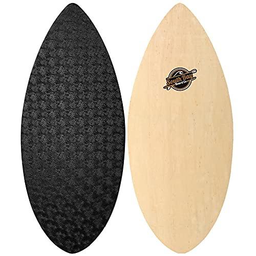 """South Bay Board Co. - 41' & 36"""" Skipper Skimboard - Best Beginners Skim Board for Kids - Durable, Lightweight Wood Body with Wax-Free Textured Foam Top Deck - Performance Tear Drop Shape"""