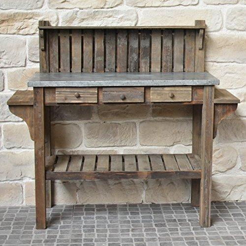 pathin_de_countryside antique style garden potting table wood zinc 142 cm
