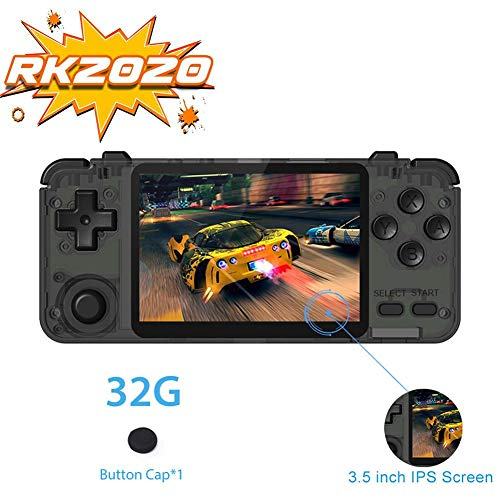 RK2020 3D-Spielkonsole, PS1 N64, tragbare Spielkonsole, Videospiel-Player, tragbare Spielbox-Konsole mit 8,9 cm IPS-Display, Multifunktions-Gaming-Maschine 70 G Schwarz