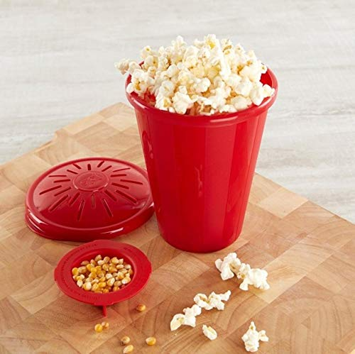 SHOPFORK Joyo Microwave Popcorn Popper with Silicone Inner Pot and Lid Microwave Popcorn Maker Kitchen Gadgets Popcorn Maker Red Color (Color As Per Availability)