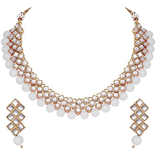Aheli Magnifique collier ras du cou indien Kundan et boucles d'oreilles ethniques indiennes pour mariage ou fête