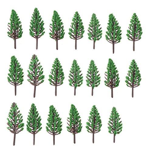 Xuniu 20 Stück Modell Bäume Set, Park Street Railroad Haus Layout grüne Landschaft Landschaft (2x2x6.5cm)