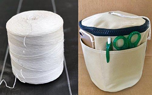 BlueFire Bundle: 6300 ft Polypropylene Tomato Twine + Reusable Twine Dispenser Bag for Garden Twine String (1 Roll Twine + 1 Tan Twine Bag)