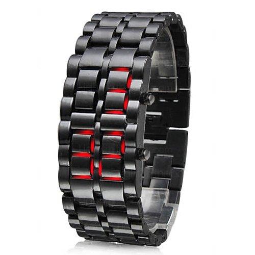 TRIXES moderne LED Digital Lava Armbanduhr mit Samurai S/Steel Armband