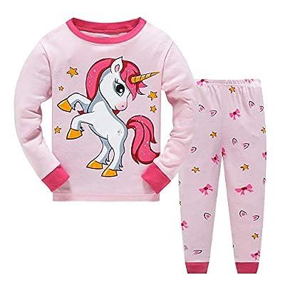 JinBei Pijama para Niña Unicornio Pijamas Conjunto de Algodon Rosa Estrella Primavera Manga Larga Camiseta Pantalones 2 Piezas Pajamas Ropa de Dibujos Animados Invierno Otoño Edad 4-5 Anos
