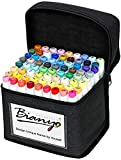 Bianyo Classic Series Alcohol-Based Dual Tip Art MarkersSet of 72,Travel Case with a Designable Card)