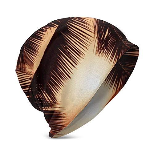 Lawenp Gorro de Punto para bebé, diseño de Palmera de Playa Tropical, Suave y cálido, Gorros para niños, niñas, de 3 a 10 años
