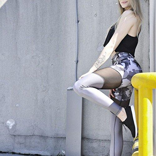 Pantalones De Yoga Elásticos De Cintura Alta La elasticidad de las polainas de la aptitud pantalones de yoga pantalones acoplamiento del camuflaje costura aptitud polainas ( Color : Gray , Size : L )