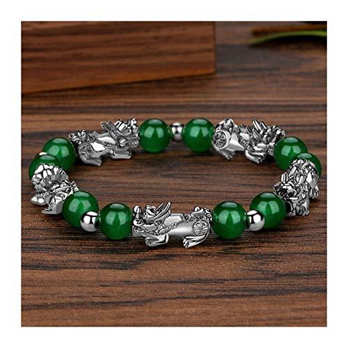 XYBB Fengshui Color Plata pixiu Perlas de obsidiana Pulsera Encanto Afortunado Riqueza para Mujeres de Moda joyería proverbios Pulsera (Length : 17 20mm, Metal Color : 2)