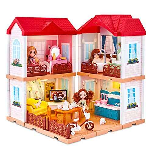 UNIH Doll House Dream House , Toddler Dollhouse for Little Girls 3 4 5 Years Old, Doll House Playset with Furniture,Doll Accessories Birthday Gift Toy for Girls Kids Toddlers