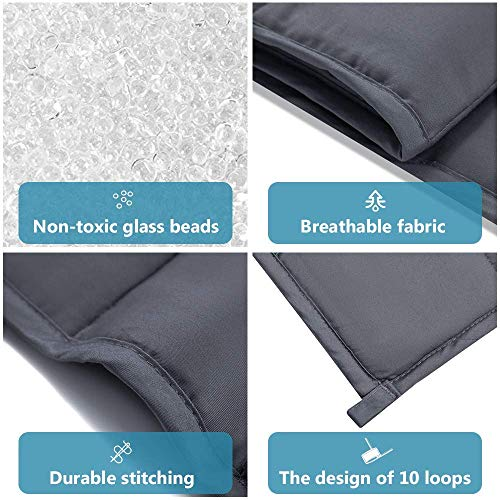 Syrinx Cooling Weighted Blankets 15lbs, 60''x80'', Dark Grey Queen Size for Adults, 100% Breathable Cotton with Glass Beads