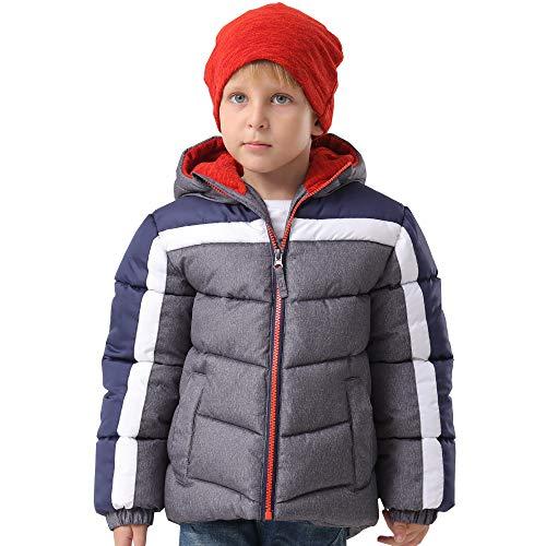 HZXVic Toddler Boys Winter Coat Lightweight,Waterproof Hooded Puffer Jackets for Kids Parka Outerwear (Grey 2T)